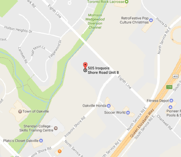 Mississauga Furniture Bank Map - Unit 8, 505 Iroquois Shore Rd. Oakville, Ontario L6H 2R3